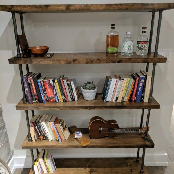 Industrial Pipe and Wood Bookcase - Pipe And Wood Designs