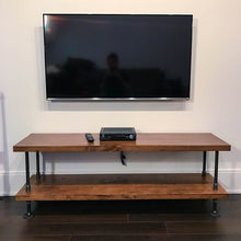 Load image into Gallery viewer, Rustic Industrial TV Stand - Pipe And Wood Designs