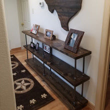 Load image into Gallery viewer, Rustic Industrial Pipe and Wood Console Table - Pipe And Wood Designs