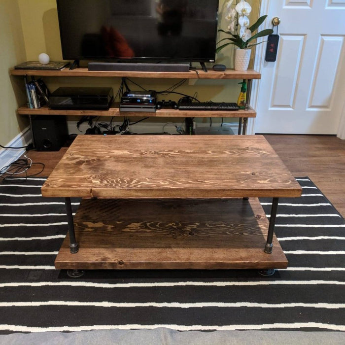 Industrial Pipe and Wood Coffee Table - Pipe And Wood Designs