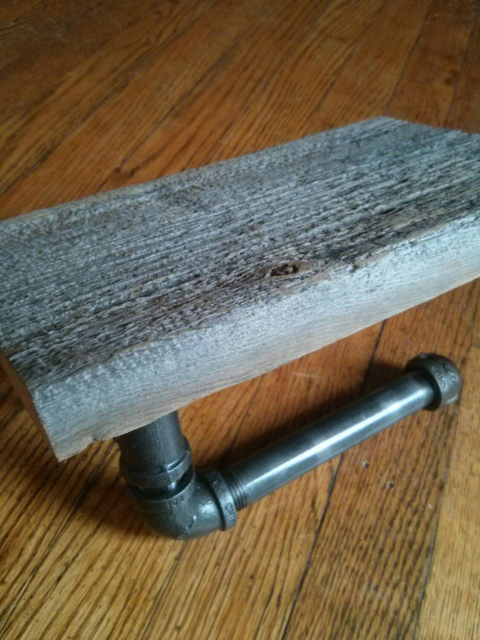 Industrial Pipe Towel Rack and Toilet Paper Holder with Reclaimed Barnboard Shelf - Pipe And Wood Designs