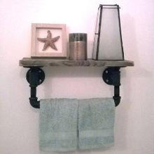 Load image into Gallery viewer, Salvaged Barnwood and Pipe Towel Rack - Pipe And Wood Designs