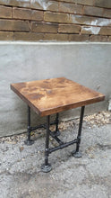 Load image into Gallery viewer, Industrial Pipe and Wood Side Table - Pipe And Wood Designs