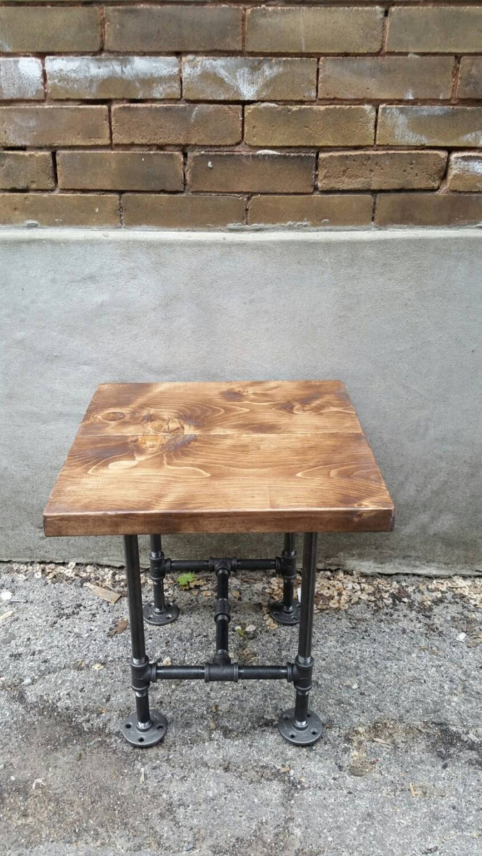 Industrial Pipe and Wood Side Table - Pipe And Wood Designs