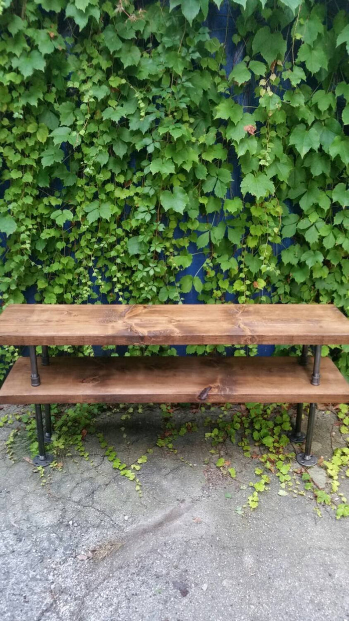 Industrial Steel and Wood TV Stand Console Table - Pipe And Wood Designs