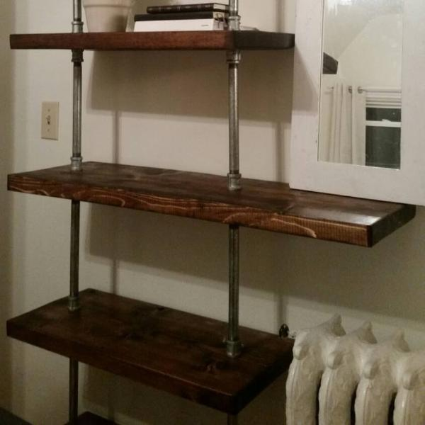 new style 37748 6da5b Rustic Industrial Pipe and Wood Shelving Unit Floor to Ceiling