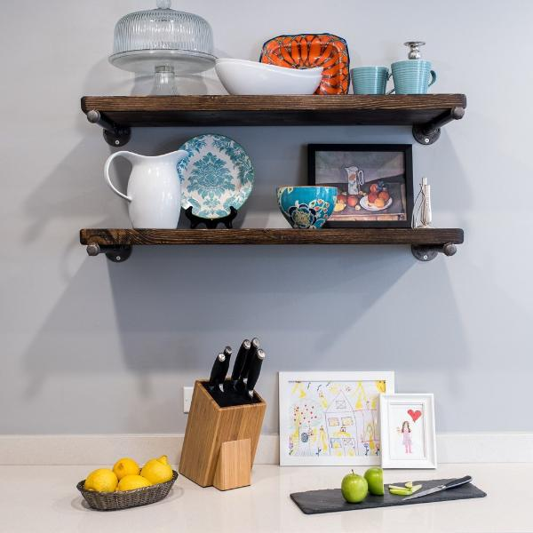 Rustic Wood Shelves with Industrial Pipe Mount - Pipe And Wood Designs