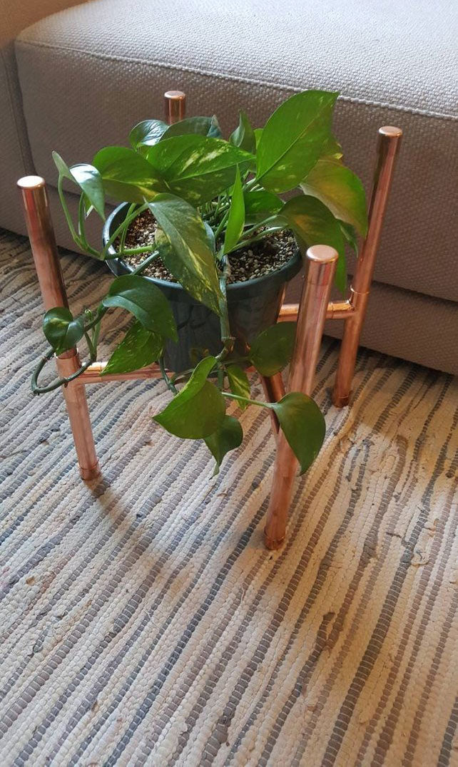 Copper Plant Stand - Pipe And Wood Designs