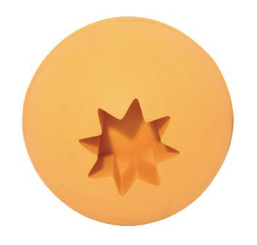 Natural Rubber Ball with Treat Holder in ORANGE
