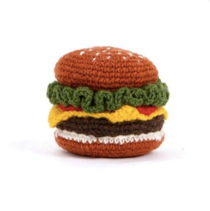 Natural Lambswool Hand Knit Hamburger Dog Toy