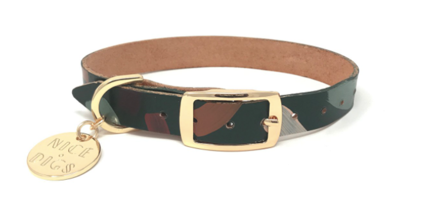 Chiaro Forest Leather Dog Collar