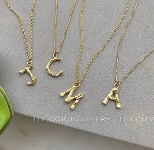 Mini Gold Bamboo Letter Initial Necklace {16 to 18 inches}