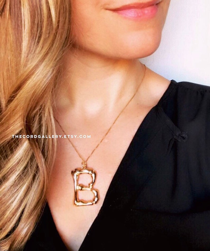 Chunky Gold Bamboo Initial Letter Necklace {22 and 24 inches}