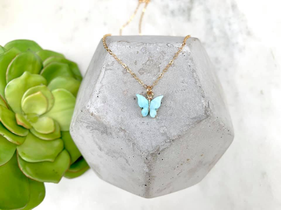 Dainty Butterfly Pendant Necklace - Gold Filled Chain