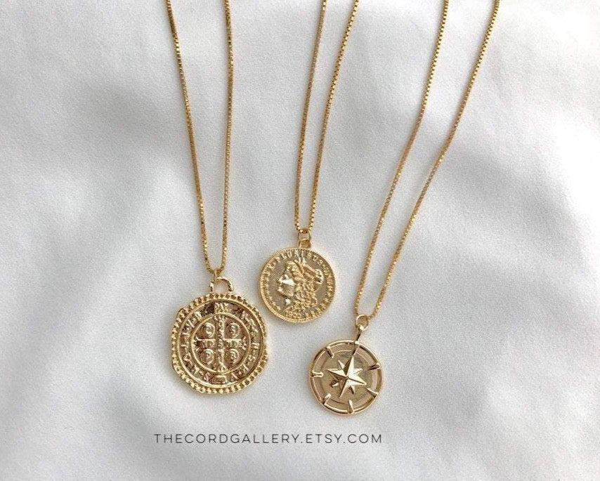 Gold Filled Medallion Necklaces - Athena - Cross Coin - Compass Necklace