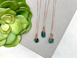 Genuine Raw Emerald Necklace - Rose Gold Filled