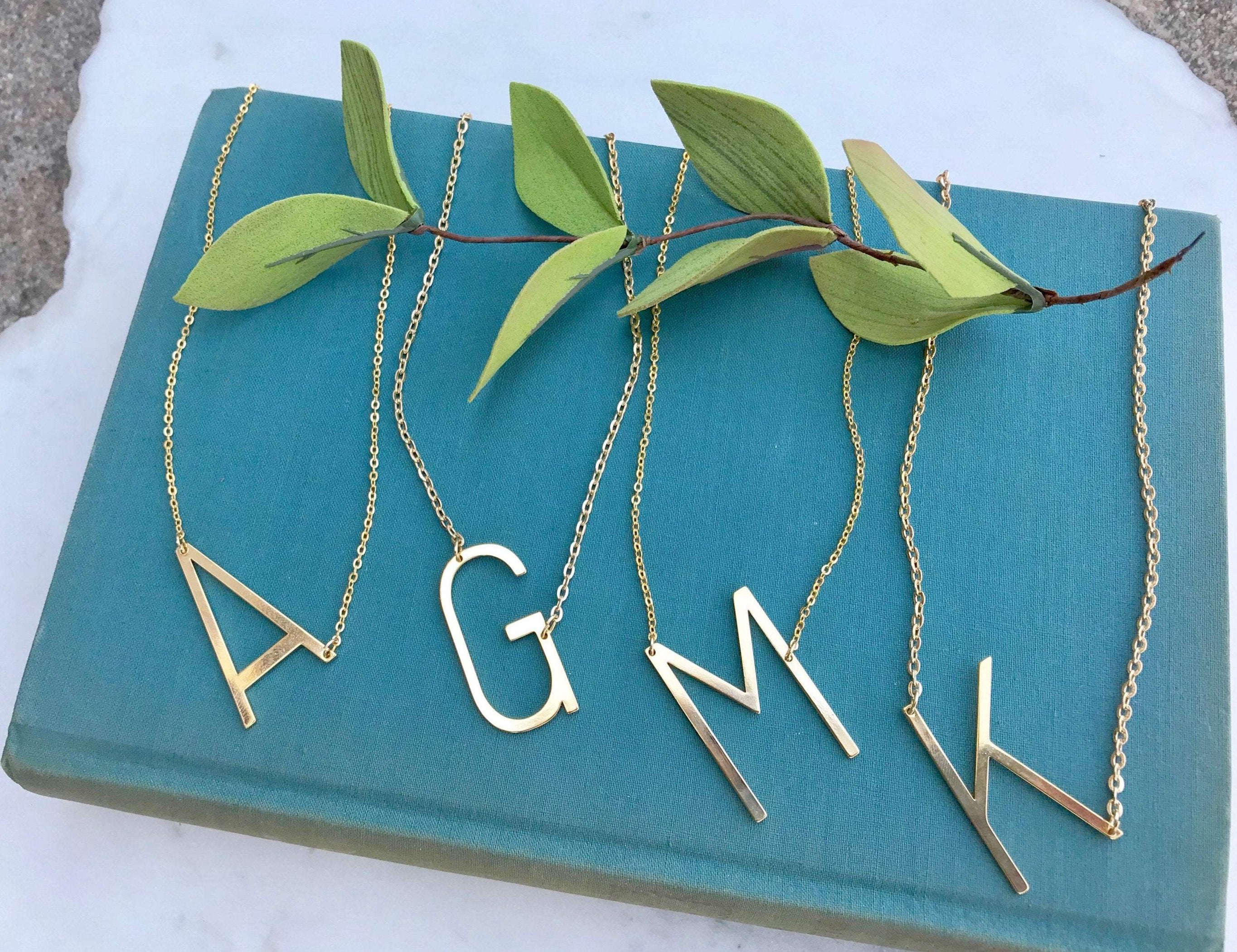 Large Gold Initial Letter Necklace