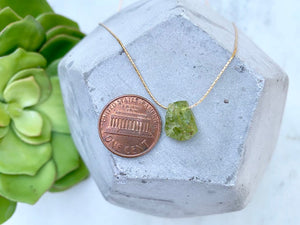 Raw Peridot Pendant Necklace - August Birthstone