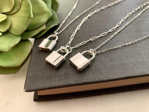 Sterling Silver Mini Padlock Necklace