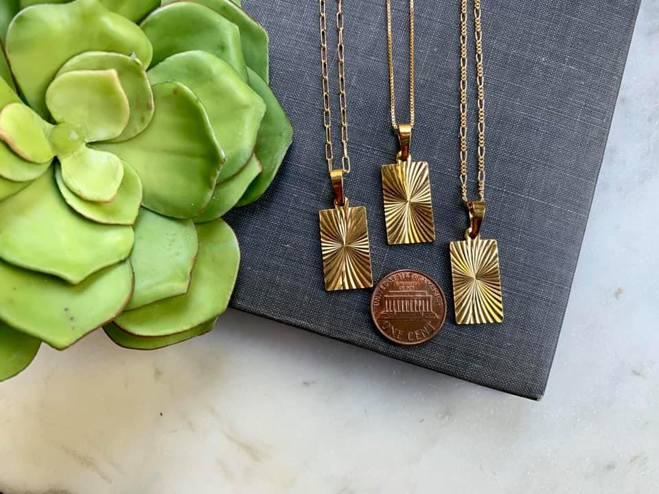 Gold Filled Starburst Rectangle Medallion Necklace