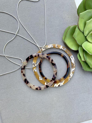 Tortoise Shell Circle Pendant Necklace - Sterling Silver