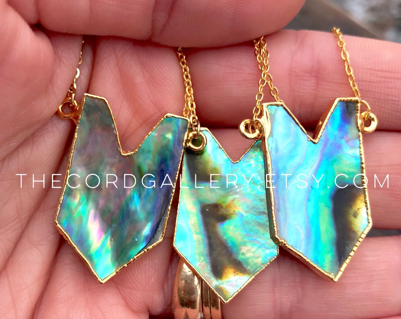 Abalone Pendant Necklace - Geometric Shield