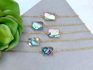 Abalone Shell Square Pendant Necklace