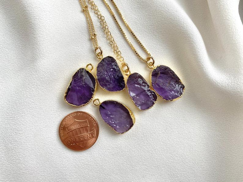 Raw Amethyst Necklace Gold Filled  - February Birthstone