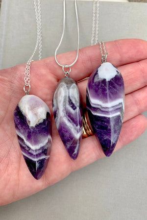Genuine Large Chevron Amethyst Necklace - Sterling Silver