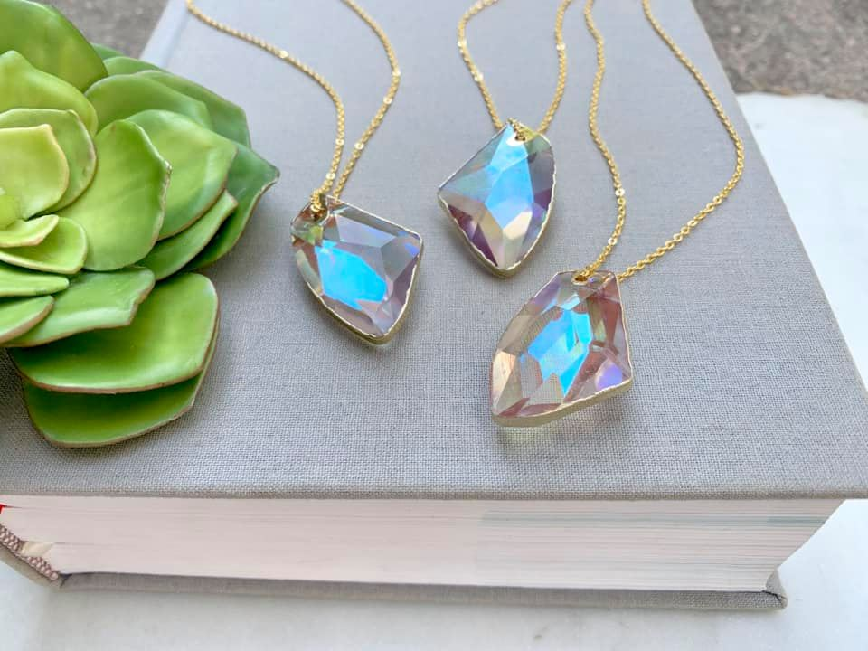 Geometric Titanium Crystal Necklace