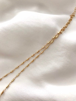 Dainty Gold Filled Bar Chain Necklace