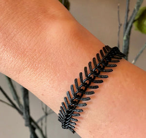 Oxidized Brass Black Chevron Bracelet