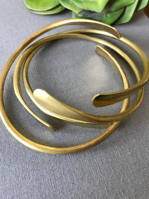 Triple Golden Raw Brass Cuffs Stacking Set