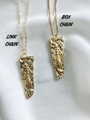 Gold Filled Guardian Angel Saint Charm Necklace