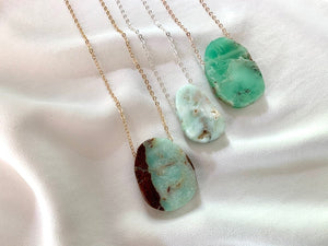 Raw Chrysoprase Pendant Necklace