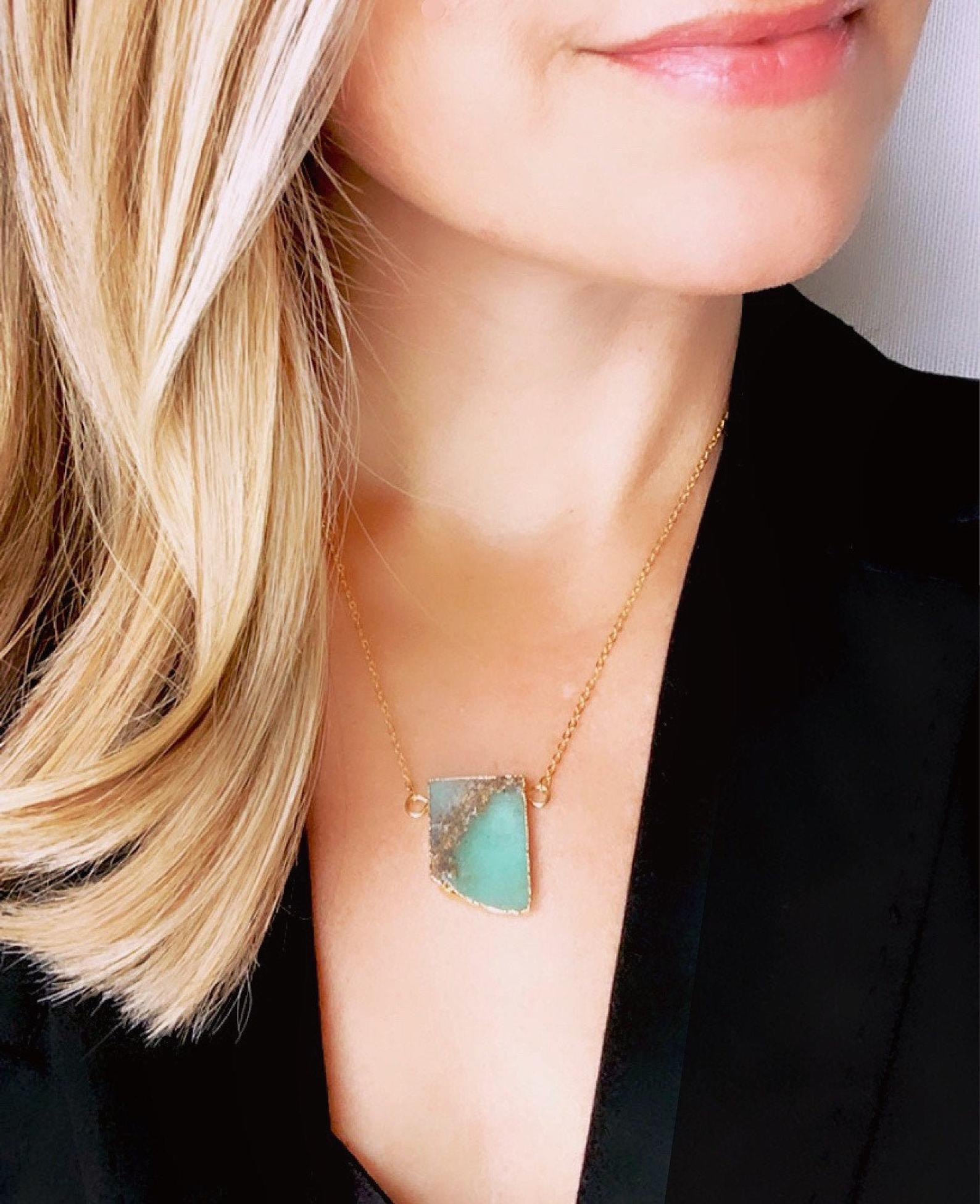 Raw Chrysoprase Gemstone Necklace