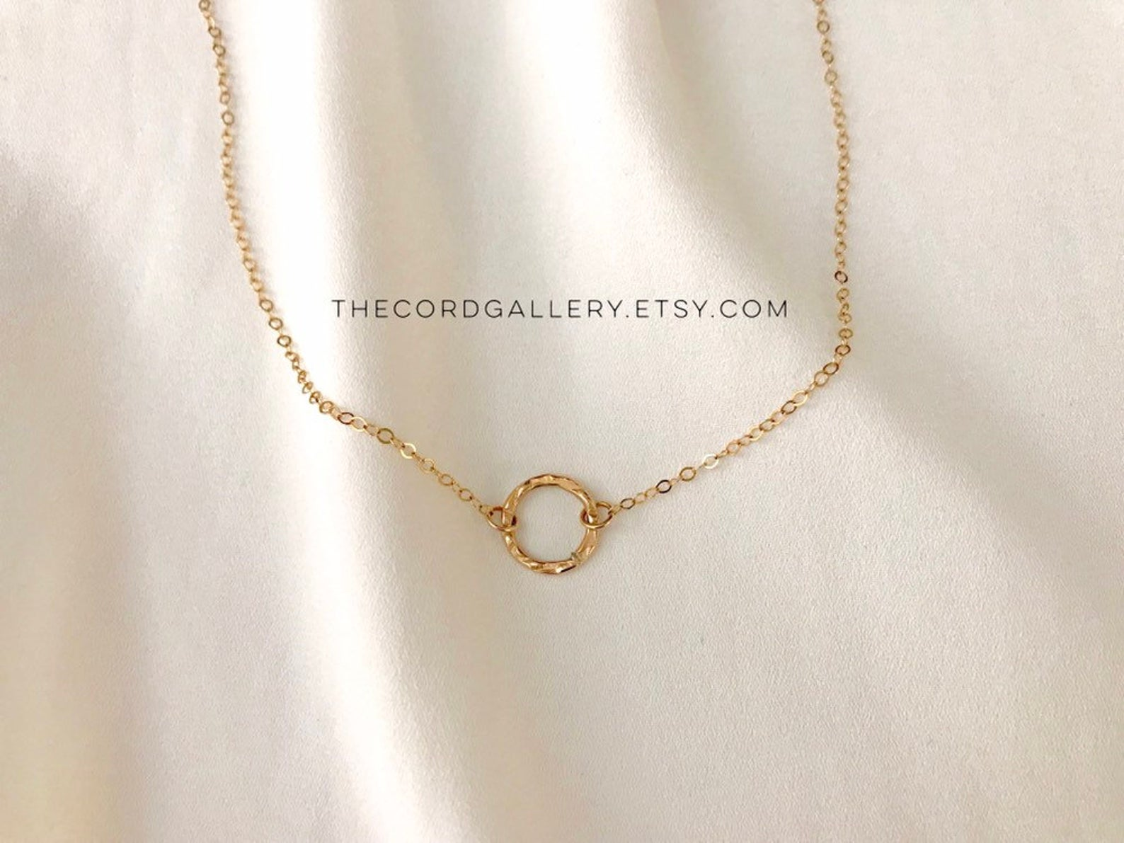 Dainty Gold Filled Hammered Circle Pendant Necklace