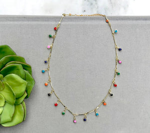 Multi-Color Dangle Bar Necklace