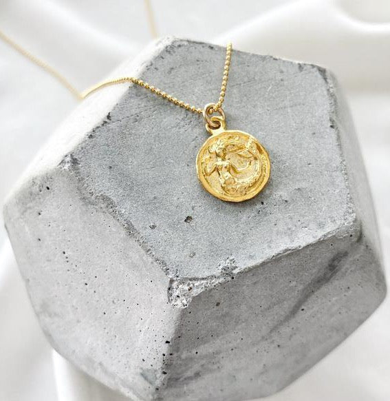 Dainty Mermaid Coin Necklace - Gold