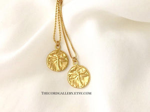 Matte Gold Dragonfly Coin Necklace