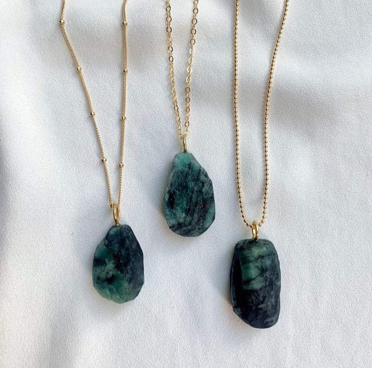 Chunky Raw Emerald Pendant Necklace - May Birthstone