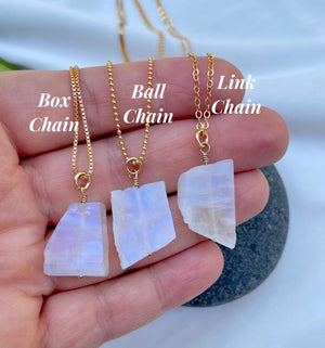 Flashy Raw Moonstone Pendant Necklace