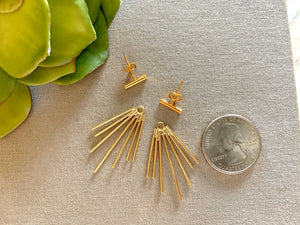 Gold Fringe Spike Earring Jackets