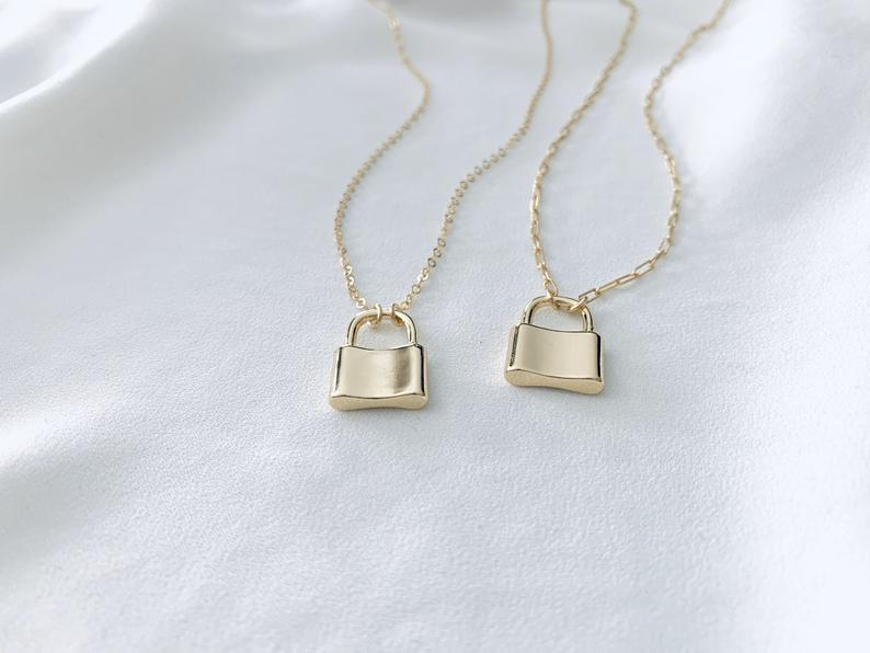 Dainty Gold Filled Padlock Charm Necklace