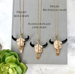 Large Steer Skull Pendant Necklace