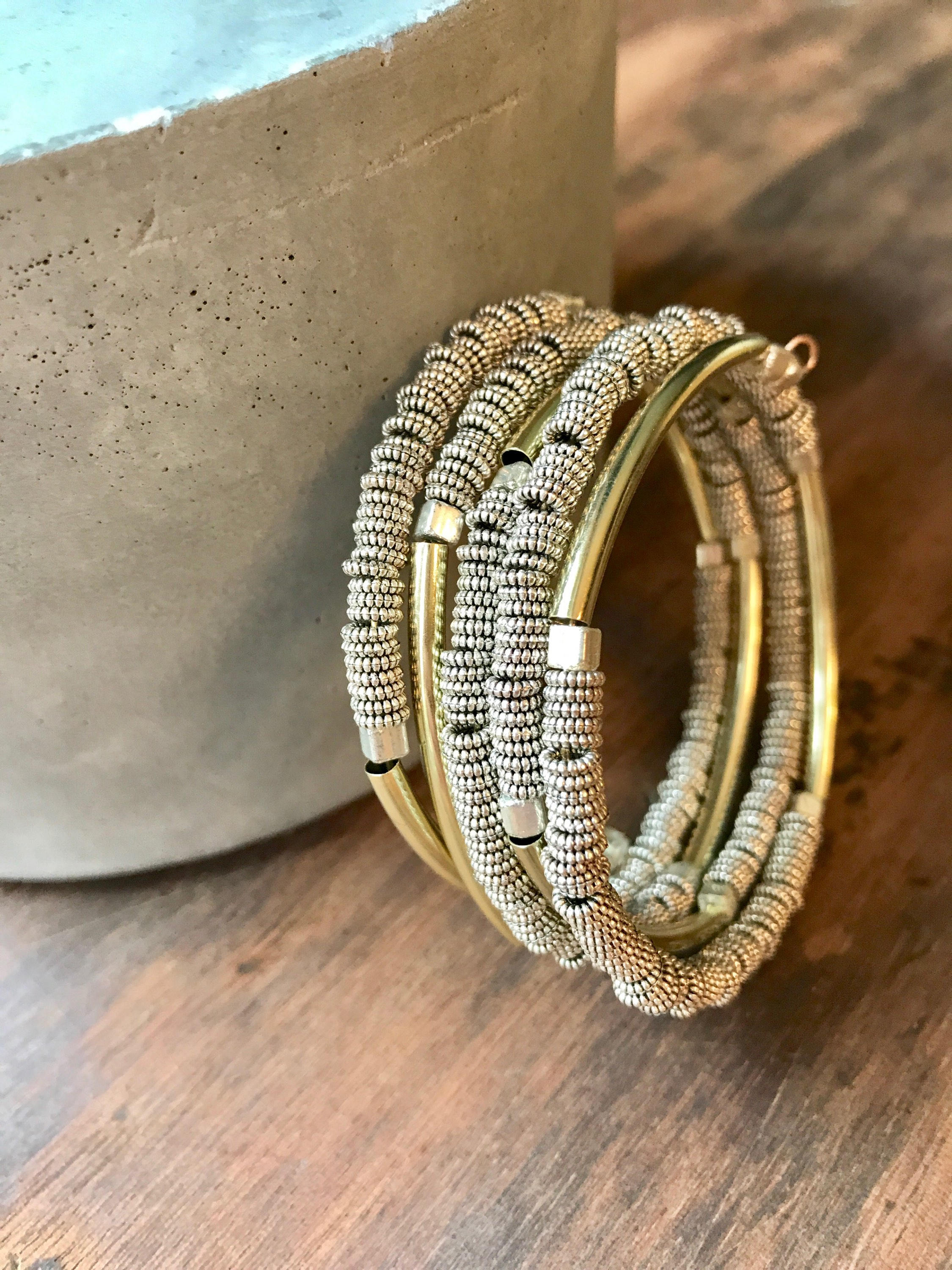 Gold and Silver Beaded Coil Bracelet