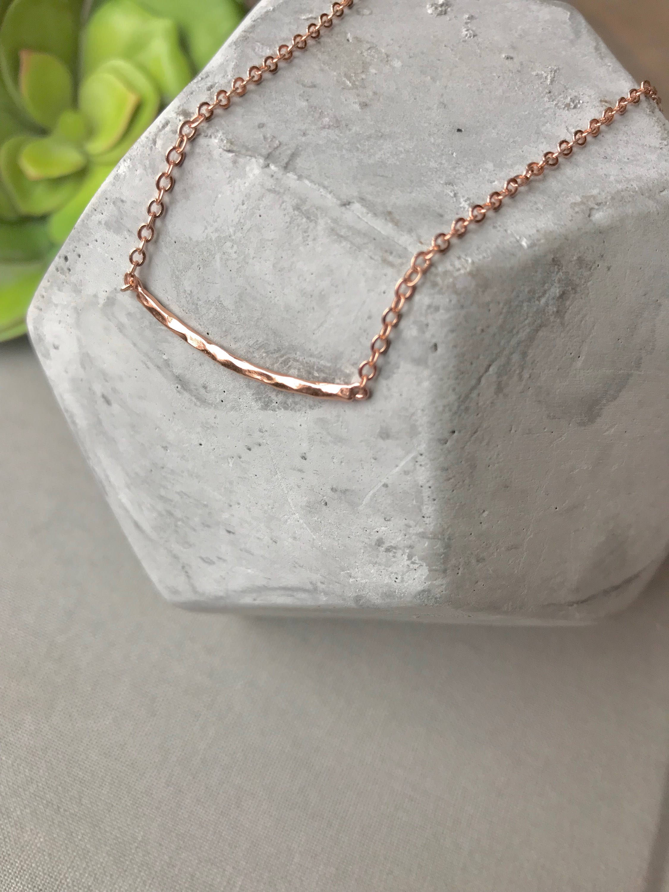 Dainty Rose Gold Curved Bar Necklace