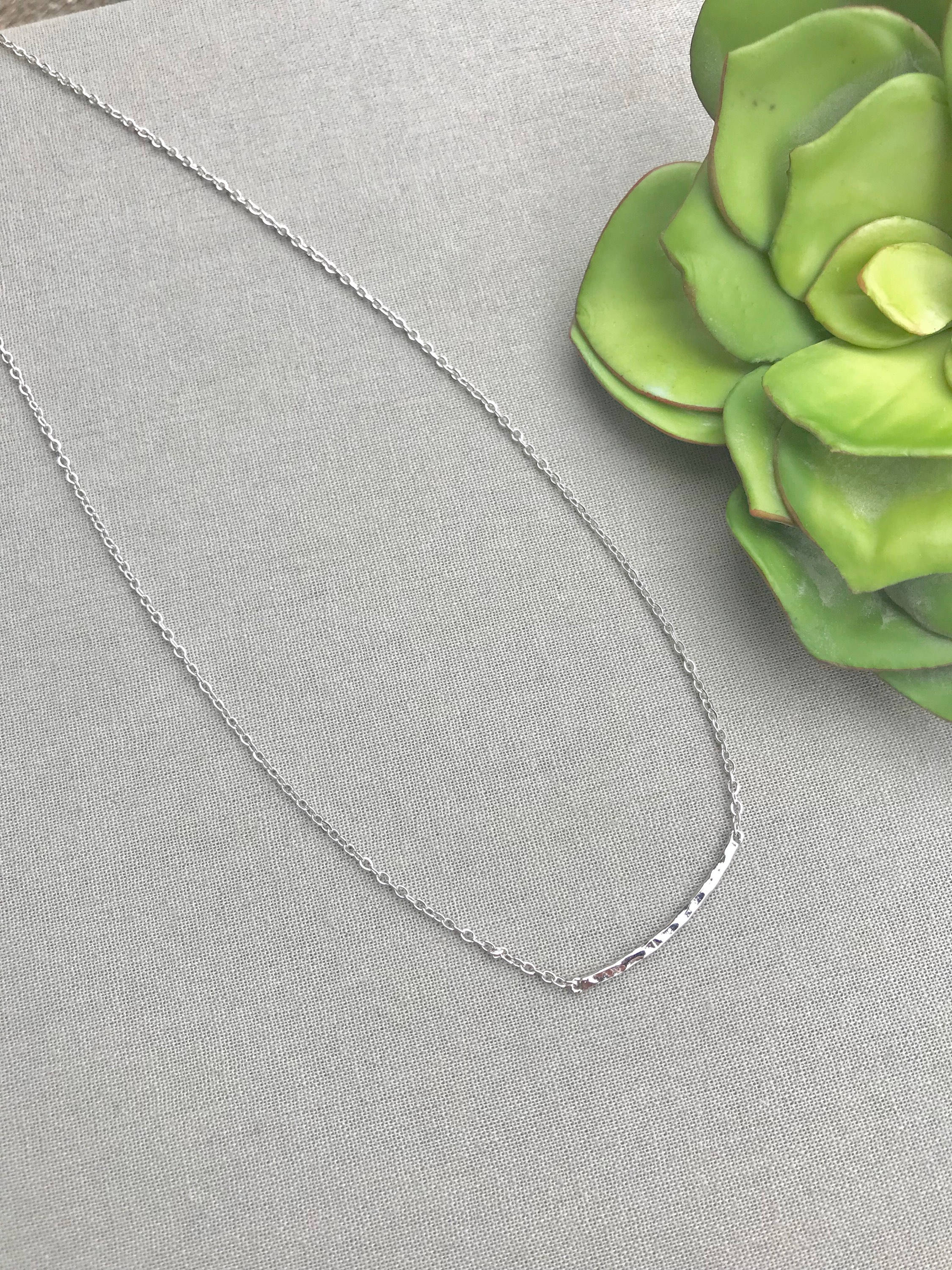 Dainty Silver Curved Bar Necklace