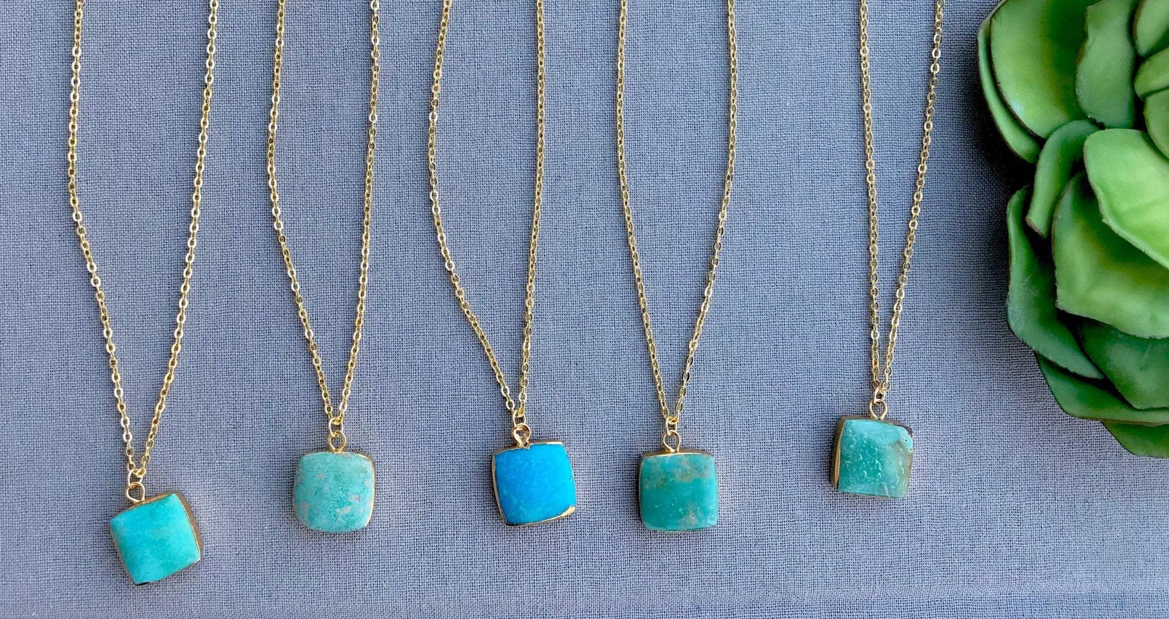 Genuine Turquoise Square Pendant Necklace - Gold