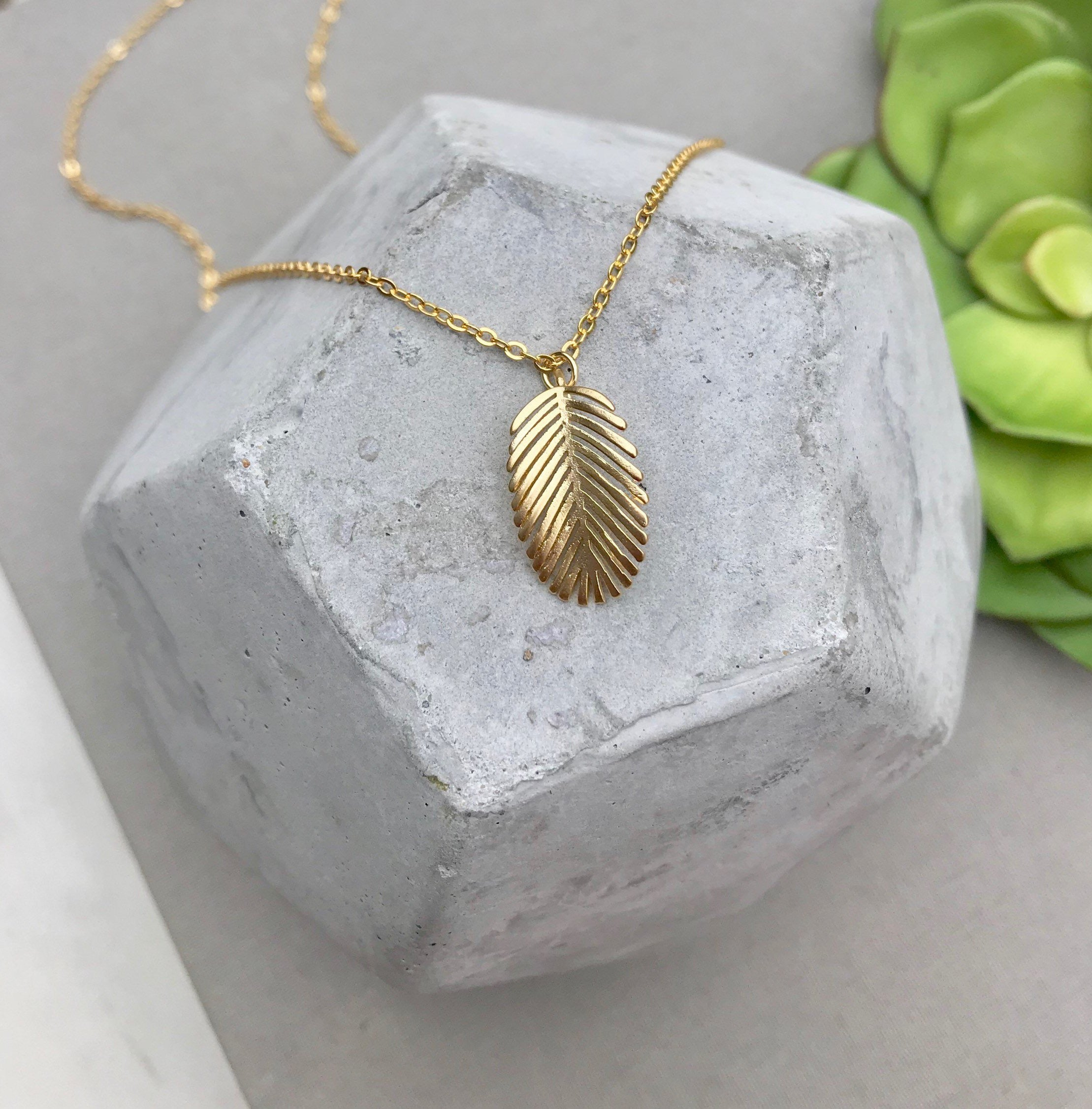 Gold Banana Leaf Necklace